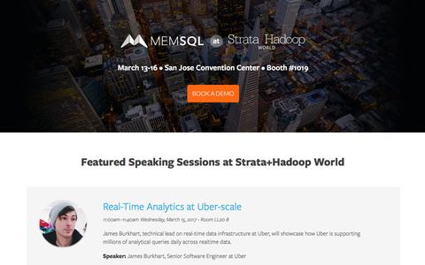 Screenshot of Landing Page memsql.com - Join MemSQL @ Strata+Hadoop World in San Jose - captured Feb. 5, 2017