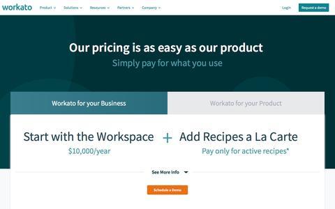 Screenshot of Pricing Page workato.com - Enterprise Automation Pricing | Workato - captured Nov. 5, 2019