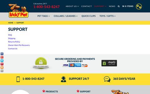 Screenshot of Support Page luckypet.com - Support – LuckyPet - captured June 30, 2017