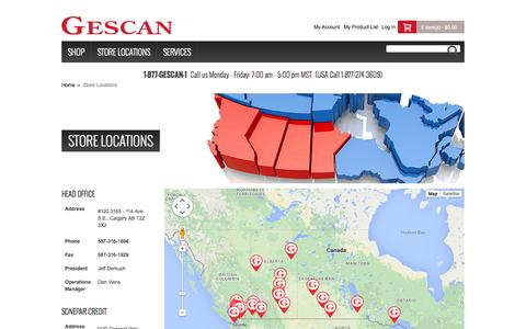 Screenshot of Locations Page gescan.com - Store Locations - captured July 20, 2015