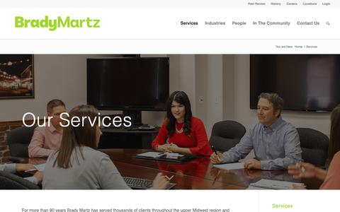 Screenshot of Services Page bradymartz.com - Services – Brady Martz & Associates - captured Oct. 6, 2018