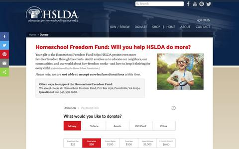 Screenshot of Support Page hslda.org - Donate to HSLDA | Homeschool Freedom Fund - captured April 16, 2018