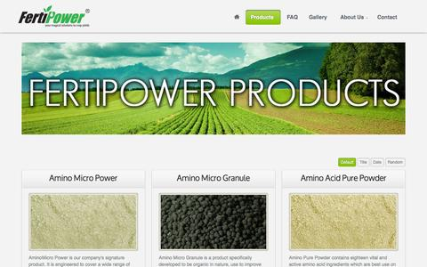 Screenshot of Products Page fertipower.com - Products - Fertipower, your magical solutions to crop yields - captured Sept. 30, 2014
