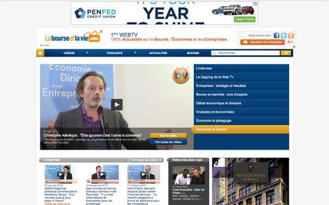 Screenshot of Home Page labourseetlavie.com - La Bourse et la Vie : 1ère WebTV 100% Actualités sur la Bourse, l'Économie et les Entreprises - La Bourse et la Vie TV : Vidéos Bourse, Éco, Entreprises - captured Jan. 22, 2016