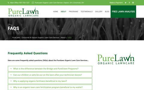 Screenshot of FAQ Page mypurelawn.com - FAQs - PureLawn - Cincinnati & Dayton Organic Lawn Care Service - captured Dec. 16, 2018