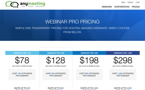 Screenshot of Pricing Page anymeeting.com - Webinar Pricing | AnyMeeting - captured July 11, 2017
