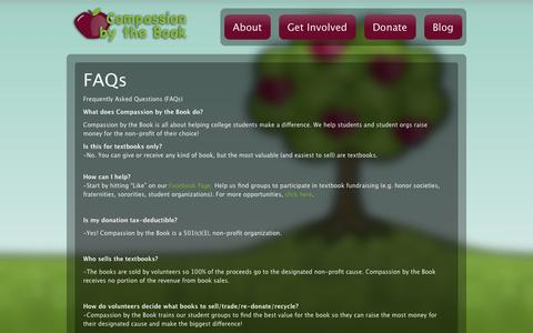 Screenshot of FAQ Page compassionbythebook.com - FAQs | Compassion by the Book - captured Sept. 30, 2014