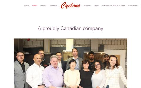 Screenshot of About Page cyclonerangehoods.com - About - Cyclone - captured Jan. 17, 2020