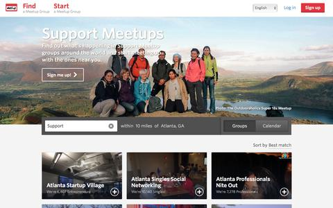 Screenshot of Support Page meetup.com - Support Meetups in Atlanta  - Meetup - captured Dec. 5, 2015