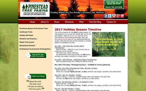 Screenshot of Hours Page pinesteadchristmastrees.com - Hours | Minnesota Christmas Trees and Gift Shop - captured July 31, 2017
