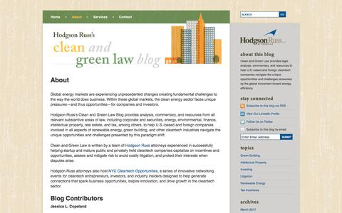 Screenshot of About Page cleanandgreenlaw.com - About Renewable Energy & Green Building Attorneys | Clean and Green Law Blog - captured Feb. 9, 2018