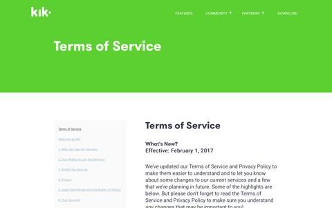 Screenshot of Terms Page kik.com - Kik Terms of Service - captured May 5, 2017