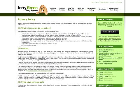 Screenshot of Terms Page jerrygreendogs.org.uk - Privacy Policy | Jerry Green Dog Rescue - captured Oct. 6, 2014
