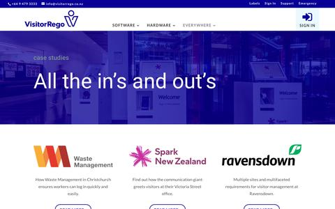 Screenshot of Case Studies Page visitorrego.co.nz - Case Studies | VisitorRego - captured Dec. 21, 2016