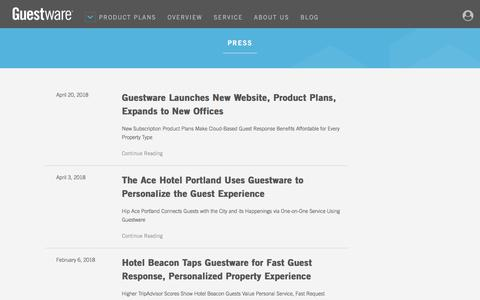 Screenshot of Press Page guestware.com - Released Press - Guestware - captured April 22, 2018
