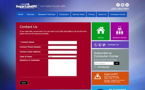 Screenshot of Contact Page sugarlandpc.com - Contact Us at SugarLandPC - captured Dec. 17, 2016
