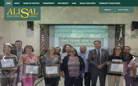 Screenshot of Home Page alisal.org - Alisal Union School District / Homepage - captured July 2, 2018