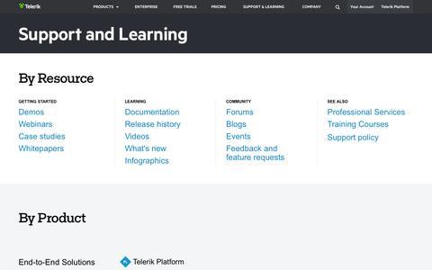 Screenshot of Support Page telerik.com - Support and Learning   Telerik - captured Oct. 10, 2014