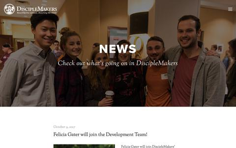 Screenshot of Press Page dm.org - News — DiscipleMakers | Campus Ministry - captured Oct. 12, 2017