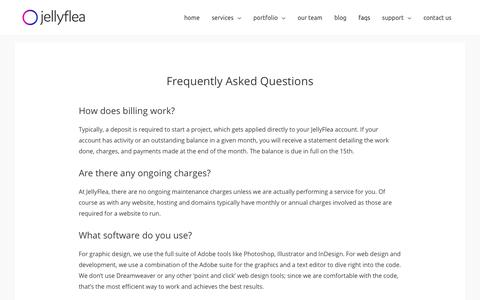Screenshot of FAQ Page jellyflea.com - Frequently Asked Questions - JellyFlea Creative - captured June 21, 2019
