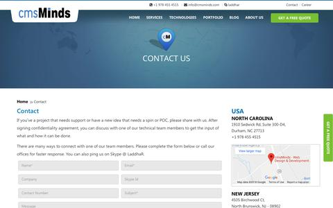 Screenshot of Contact Page cmsminds.com - Contact - captured July 9, 2018