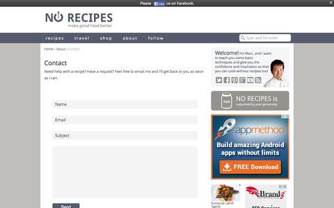 Screenshot of Contact Page norecipes.com - Contact - No Recipes - captured Sept. 22, 2014
