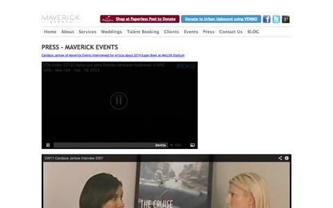Screenshot of Press Page mavevents.com - Press, PR, In The Media | Maverick Events - captured Oct. 27, 2014