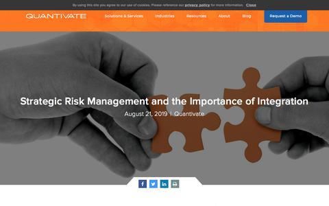 Screenshot of Team Page quantivate.com - Strategic Risk Management and the Importance of Integration | Quantivate - captured Dec. 3, 2019