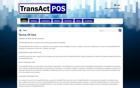 Screenshot of Terms Page transactpos.com - Point Of Sale | POS | Software | Hardware | True Value | Do it Best | Orgill | Retail | Stores - captured Oct. 1, 2014