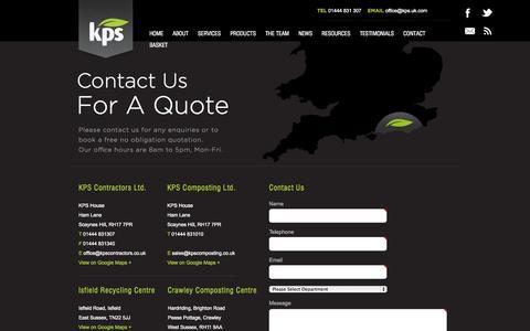 Screenshot of Contact Page kps.uk.com - Contact KPS Contractors and KPS Composting - captured Oct. 6, 2014