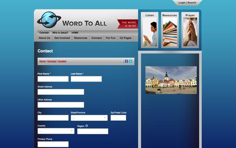 Screenshot of Contact Page wordtoall.org - Word To All International | Contact - captured Sept. 23, 2014