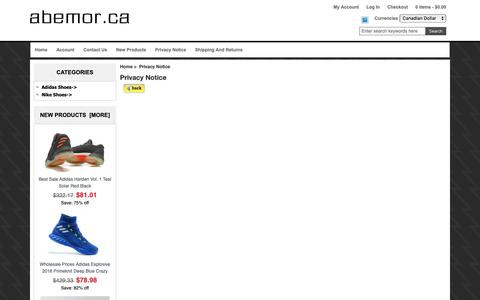 Screenshot of Privacy Page abemor.ca - Privacy Notice : 2018 Hot Sale Sport Shoes - captured Oct. 9, 2018