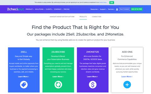 Screenshot of Products Page 2checkout.com - 2Checkout Products - captured Nov. 21, 2018