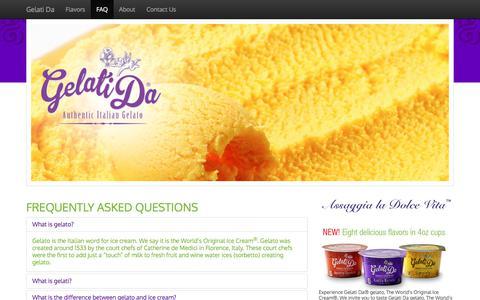 Screenshot of FAQ Page gelatida.com - Gelatida is Ice Cream - The world's original Ice Cream - captured July 22, 2017