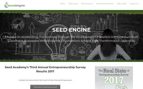 Screenshot of Home Page seedengine.co.za - Seed Engine – Development of Entrepreneurs - captured Nov. 12, 2017