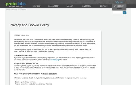 Proto Labs Privacy and Cookie Policy