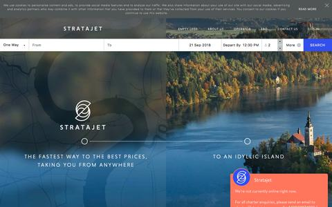 Screenshot of Home Page stratajet.com - Stratajet | Private Jet Hire & Charter | Real Time Bookings - captured Sept. 20, 2018