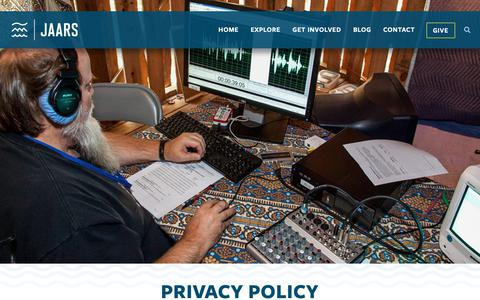 Screenshot of Privacy Page jaars.org - Privacy Policy - JAARS - captured Oct. 1, 2018