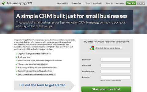 Screenshot of Landing Page lessannoyingcrm.com - Less Annoying CRM | Simple Contact Management for Small Business - captured Dec. 9, 2015
