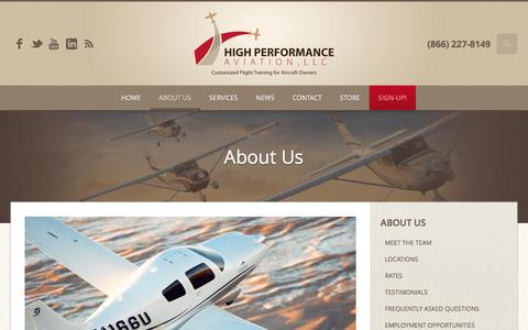 Screenshot of About Page flyhpa.com - About Us | Garmin G1000 Training | Cessna | Cirrus | Columbia | High Performance Aviation, LLC | Customized Flight Training for Aircraft Owners - captured Nov. 8, 2016