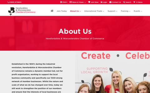 Screenshot of About Page hwchamber.co.uk - About Us | Herefordshire & Worcestershire Chamber of Commerce - captured Dec. 13, 2018