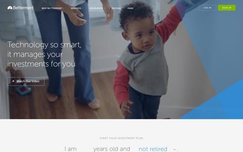 Screenshot of Home Page betterment.com - Betterment | Investing Made Better - captured Nov. 21, 2015