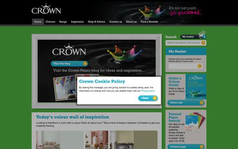 Screenshot of Home Page crownpaints.co.uk - Crown   Crown Paint - captured Sept. 22, 2014
