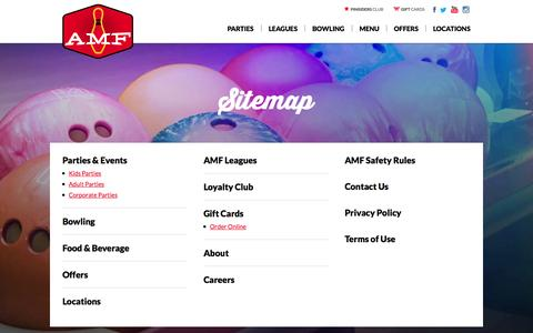 Screenshot of Site Map Page amf.com - Site Map | AMF Bowling Centers - captured Sept. 22, 2014