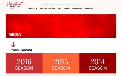 Screenshot of Press Page stratfordfestival.ca - Media Information   Stratford Festival - captured Aug. 17, 2016