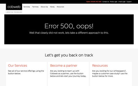 Screenshot of About Page cobweb.com - Error 500 - captured Sept. 27, 2017