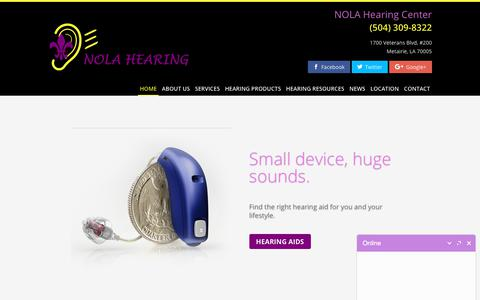 Screenshot of Home Page nolahearing.com - Hearing Aid Store & Hearing Clinic - Nola Hearing - Metairie, LA - captured Sept. 21, 2018
