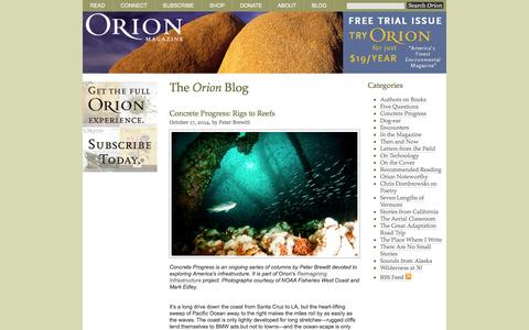 Screenshot of Blog orionmagazine.org - The Orion Blog | Orion Magazine - captured Oct. 26, 2014