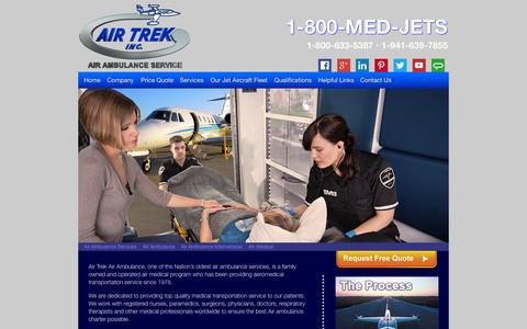 Screenshot of Home Page medjets.com - Air Ambulance by Air Trek, Inc. - captured Sept. 10, 2015