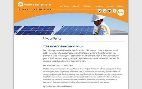 Screenshot of Privacy Page positiveenergysolar.com - Privacy Policy | Positive Energy - captured Sept. 30, 2014